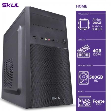 Computador Home H200 - ATHLON Dual Core 200GE 3.2GHZ 4GB DDR4 HD 500GB HDMI/VGA Fonte 200W