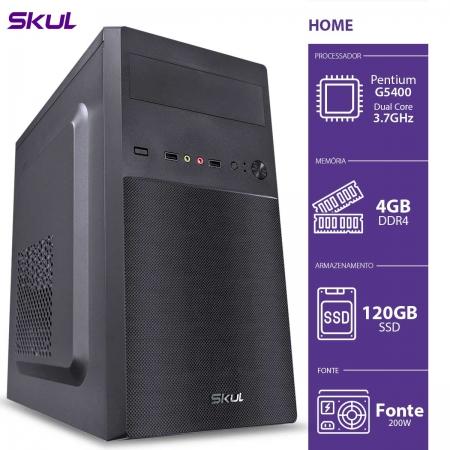 Computador Home H200 - Pentium Dual Core G5400 3.7GHZ 4GB DDR4 SSD 120GB HDMI/VGA Fonte 200W