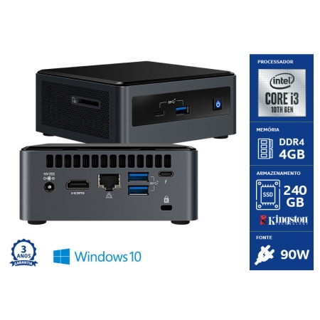 Computador NUC INTEL Windows Computador NUC NUC101104240W Core I3-10110U 4GB DDR4 SSD 240GB Wifi Windows 10 Home