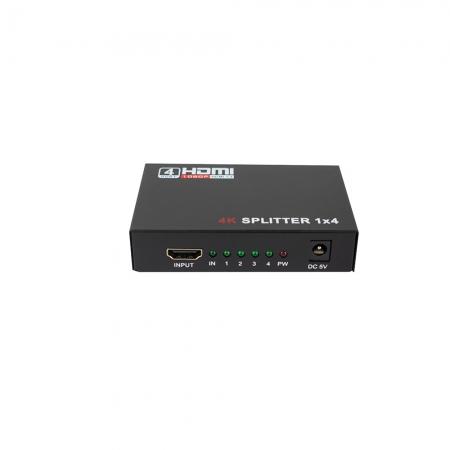 Divisor HDMI EVUS 4 Saidas X 1 Entrada 4K 3D Ouro 1,8M C-080