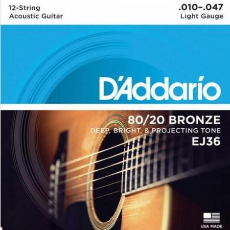 Encordoamento Violao 12 Cordas ACO EJ36 010 80/20 Bronze D Addario