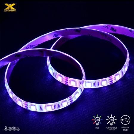Fita de LED VX Gaming RGB com Controlador Conexao USB 120 Pontos de LED2 Metros - LRU2