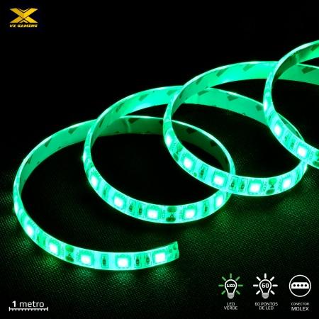 Fita de LED VX Gaming Verde com Conexao Molex 60 Pontos de LED 1 Metro - LDM1 (7908020920731)