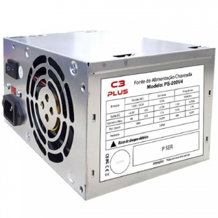Fonte ATX 200W C3PLUS PS-200V4 S/CABO - PS-200V4 Bivolt