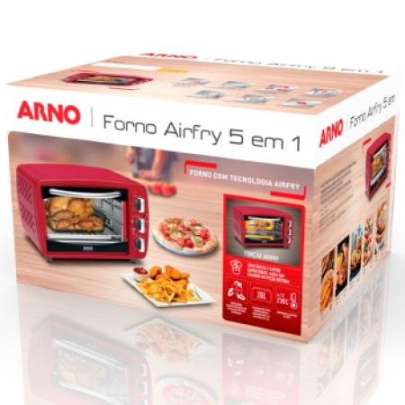 Forno Eletrico ARNO AIRFRY 5 em 1 20L - FOR3 Vermelho 220 VOLTS