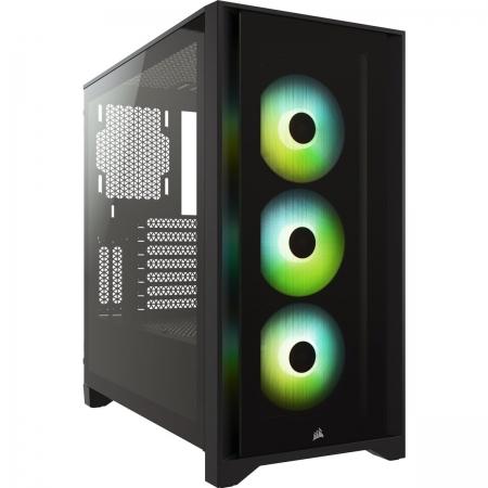 Gabinete Gamer Gabinete CC-9011204-WW Icue 4000X RGB Preto Janela Lateral em Vidro Temperado