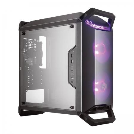 Gabinete Masterbox Q300P 2 FANS RGB - Controlador e Splitter - Painel Lateral Acrilico Transparente - MCB-Q300P-KANN-S02