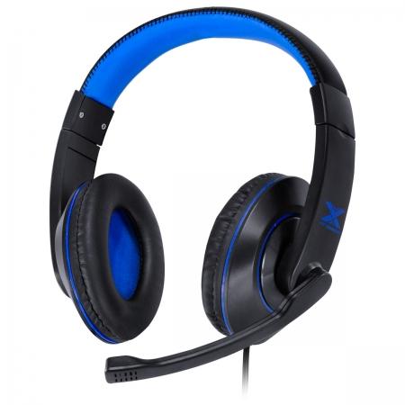 Headset Gamer VX Gaming V Blade II USB com Microfone Retratil e Ajuste de Haste Preto com AZUL - GH202