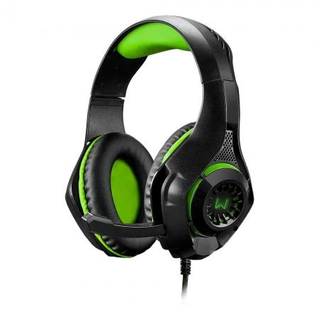 Headset Warrior Rama Gamer USB+P3+P2 Green LED - PH299