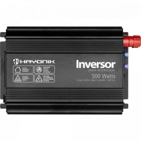 Inversor de ONDA Modificada 500W 12VDCOM127V USB Cinza Escuro Hayonik