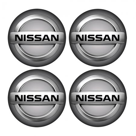 Jogo BOTTOM/ Emblema para Calota Nissan 51MM Degrade 4 Pecas Resinado