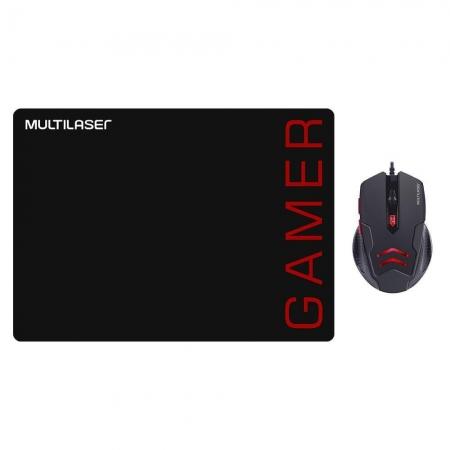 Kit Mouse PAD e Mouse 3200DPI Gamer Preto e Vermelho MO306