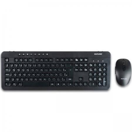Kit Teclado e Mouse sem Fio Recarregavel 2.4GHZ USB Preto TC250