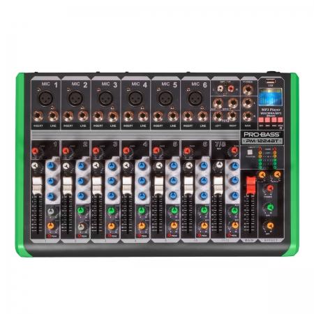 Mesa de Som 8 Canais ULTRA SLIM com USB e Bluetooth PM-1224BT 220V