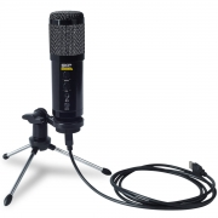 Microfone com Cabo USB Condenser com Tripe Podcast 400U Preto