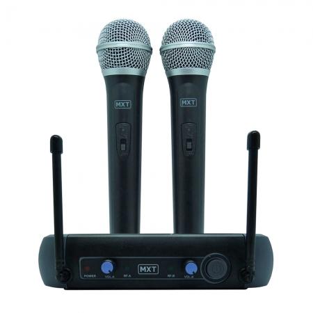 Microfone MXT sem Fio Duplo UHF202 FREQ. 687,6-695.5MHZ