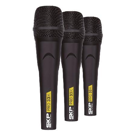 Microfone Profissional com Fio KIT com 3 Pecas, Nao Acompanha Cabos PRO33K