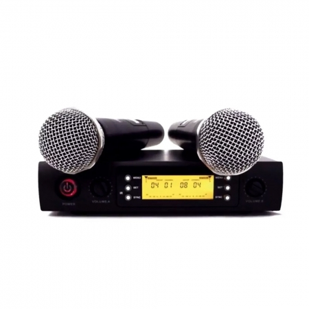 Microfone sem Fio MXT Duplo UHF PLL100 Canais UHF526M