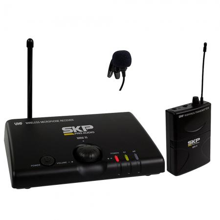 Microfone SKP MINI-III Base + 1 MIC Lapela UHF sem Fio