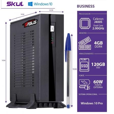 Mini Computador Business B100 BY ASUS-CEL Dual COREJ4005 2.0GHZ 4GBDDR4 SSD 120GB FONTE60W WIN 10PRO