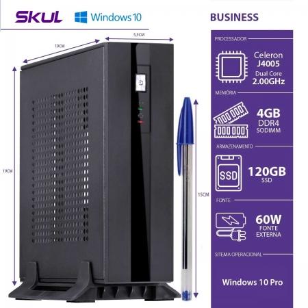 Mini Computador Business B100 - Celeron DC J4005 2.0GHZ 4GB DDR4 Sodimm SSD 120GB Fonte EXT. 60W WIN 10 PRO