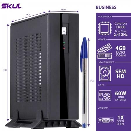 Mini Computador Business B100-CELERON Dual Core J1800 2.41GHZ 4GB DDR3 Sodimm sem HD Fonte EXT.60W