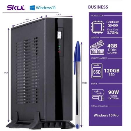 Mini Computador Business B200 - Pentium Dual Core G5400 3.7GHZ MEM 4GB DDR4 SSD 120GB HDMI/DP Fonte EXT. 90W WIN 10 PRO