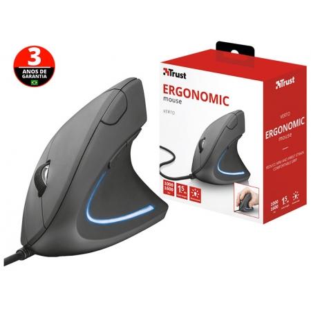 Mouse com Fio Mouse 22885 Verto LED AZUL Vertical com 6 Botoes Optico Preto 1600 DPI USB