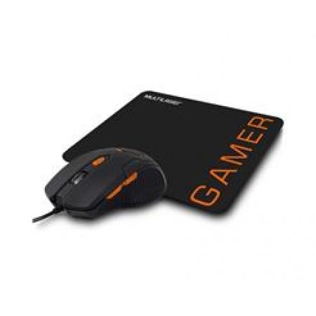 Mouse Gamer Multilaser 3200DPI 6 Botoes PRETO/LARANJA com Mouse PAD - MO274