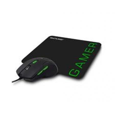Mouse Gamer Multilaser 3200DPI 6 Botoes PRETO/VERDE com Mouse PAD - MO273