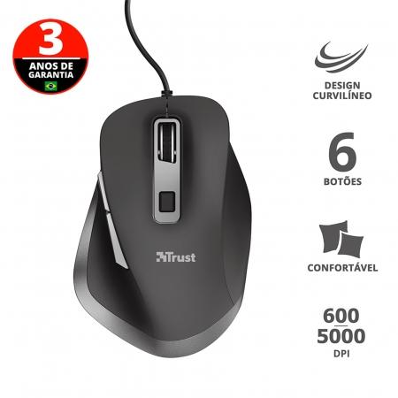 Mouse Optico Comfort TRUST FYDA USB 5000DPI- 23808
