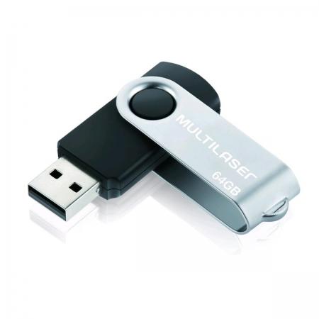 Pen Drive Multilaser TWIST Preto 64GB - PD590