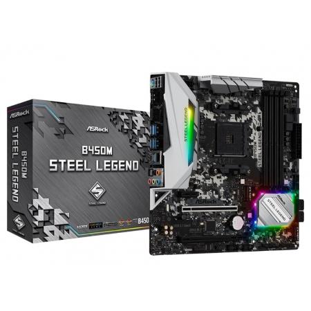 Placa Mae ASROCK B450M Steel Legend AM4 / USB 3.1/ TYPE-COM Displayport, HDMI
