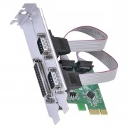 Placa Serial 2 Saidas RS232 RS485 RS422 + 1 Saida Paralela IEEE1284 PCI EXPRESS PCI-E X1 com LOW Profile - P2IE1PR-LP