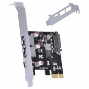 Placa USB com 2 USB 3.0 + USB Tipo C / TYPE C 3.1 PCI EXPRESS PCI-E X1 com LOW Profile - P2U30C31-LP