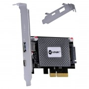 Placa USB com USB 3.0 + USB Tipo C / TYPE C 3.1 PCI EXPRESS PCI-E X4 com LOW Profile - PU30C31-LP