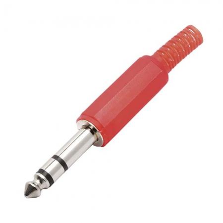 Plug P10 Stereo Metal com Corpo Plastico Vermelho