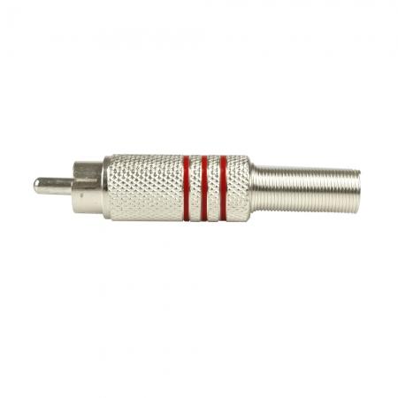 Plug RCA Metal EVUS com Mola Listras Vermelhas Macho C-074