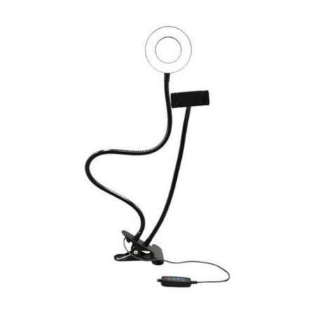 Suporte Tipo RING LIGHT Ajustavel com CLIP Fixador USB AC369