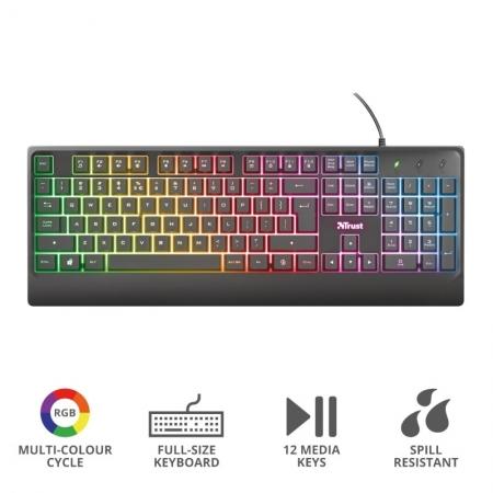 Teclado Gamer Teclado 23697 Ziva Rainbow Mulmidia com LED Padrao Americano
