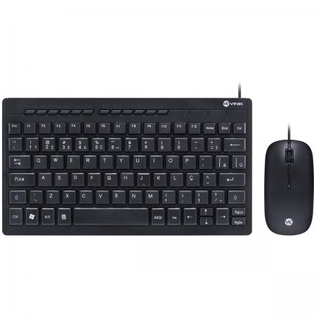 Teclado Mini Chocolate e Mouse USB CORP FLAT ABNT2/1200DPI Cabo USB 1.8M Preto - DC120