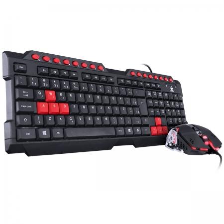Teclado & Mouse Gamer VX Gaming Grifo - Mouse 2400 DPI Cabo USB 1.8 Metros LED Vermelho - VGC-01V