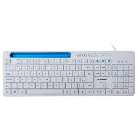 Teclado Multimidia Office USB Branco com Apoio para Smartphone TC263