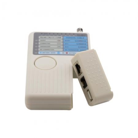 Testador de Cabo de Rede Multitoc RJ11/ RJ45/ USB/ BNC MT200