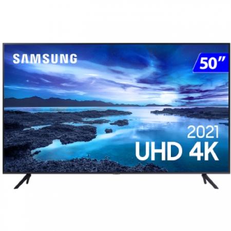 TV 50P Samsung CRYSTAL SMART 4K Comando VOZ - UN50AU7700GXZD