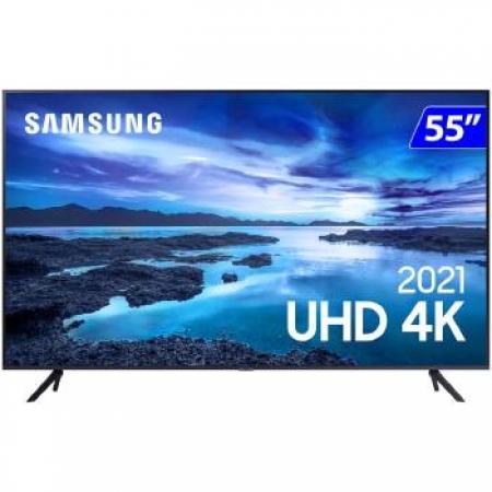 TV 55P Samsung CRYSTAL SMART 4K Comando VOZ - UN55AU7700GXZD