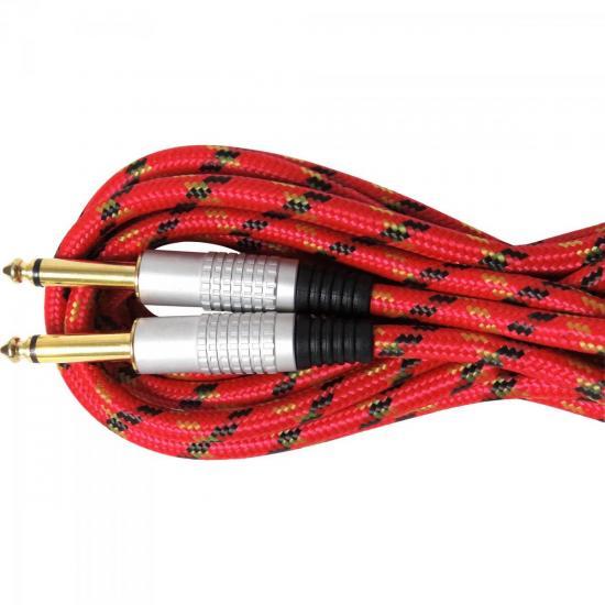 Cabo Guitarra P10 X P10 5M CBGU0005 Vermelho Textil STORM