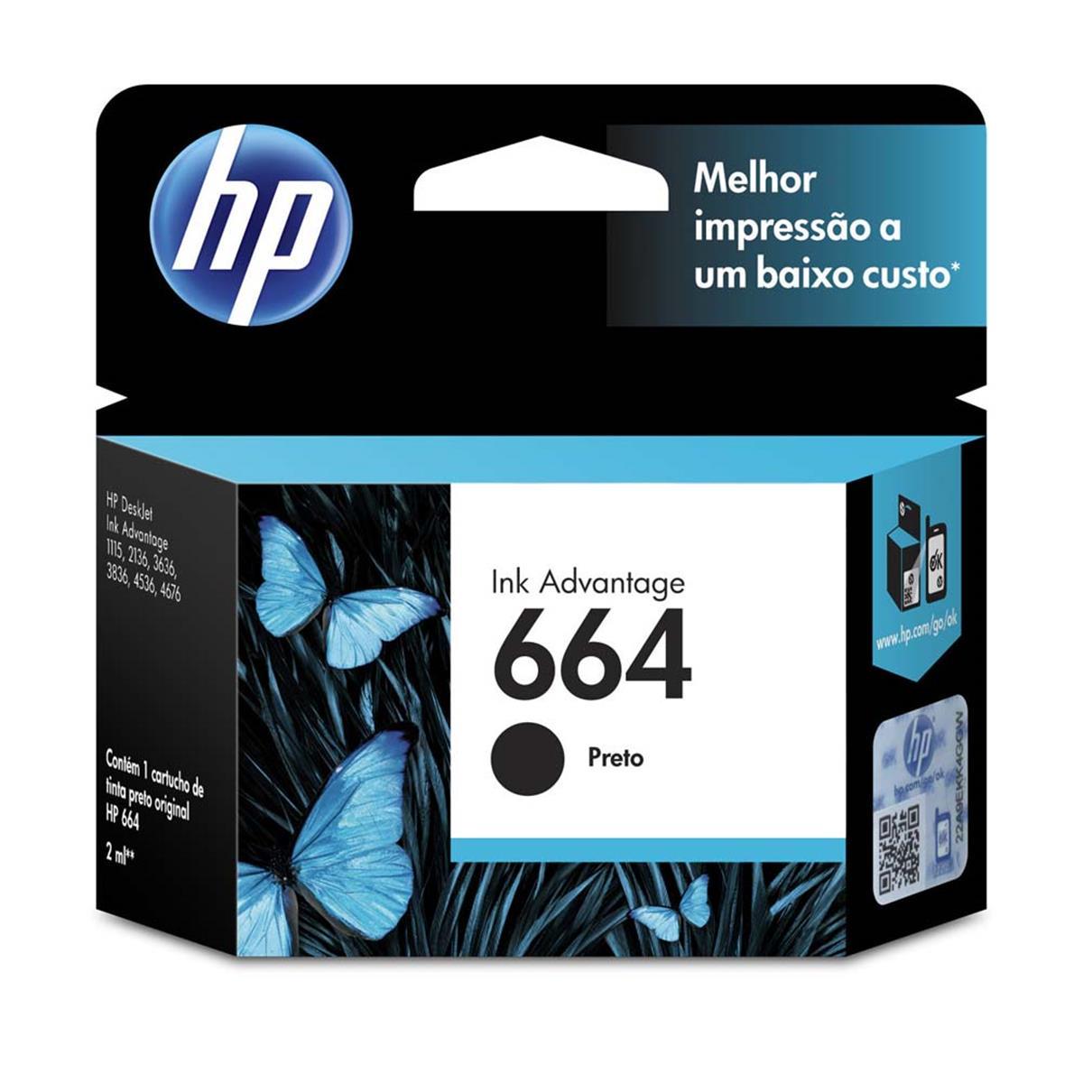 Cartucho HP 664 Jato de Tinta Preto 2ML - F6V29AB