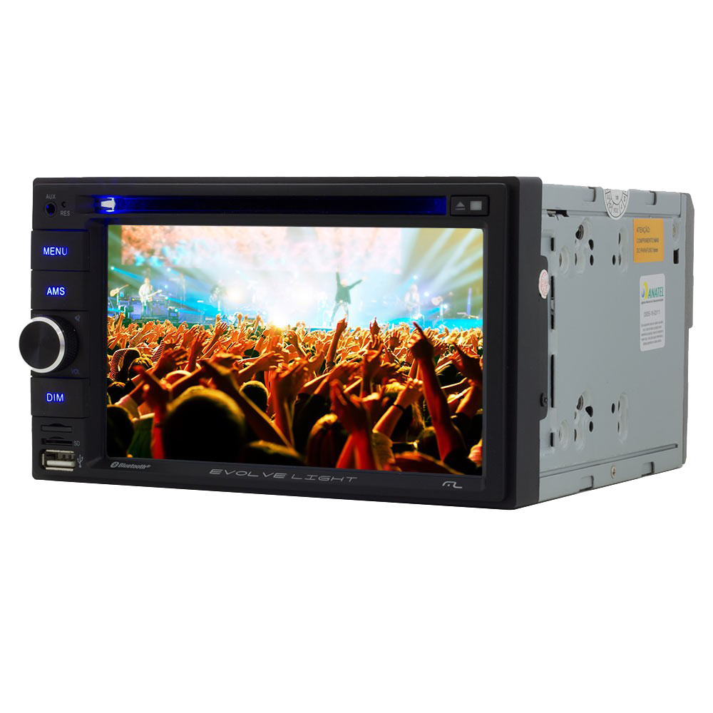 Central Multimidia Multilaser Evolve LIGHT 6,2  Bluetooth Mirror LINK Entrada Pendrive e SD - P3321