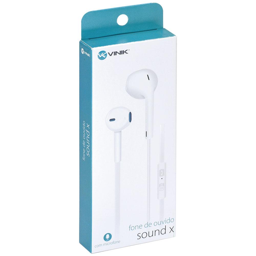 Fone de Ouvido Sound X Branco com Microfone, Atende Celular